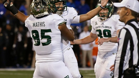 <p>               South Florida's Coby Weiss, center, celebrates with teammates Jacob Mathis (85) and Trent Schneider (39) after kicking the go-ahead field goal in an NCAA college football game against Tulsa in Tulsa, Okla., Friday, Oct. 12, 2018. (AP Photo/Sue Ogrocki)             </p>