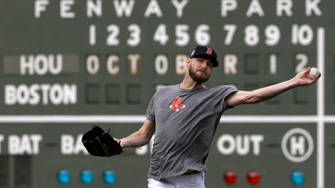 <p>               Boston Red Sox pitcher Chris Sale throws during a baseball workout at Fenway Park, Friday, Oct. 12, 2018, in Boston. Sale is scheduled to start against the Houston Astros in Game 1 of the baseball American League Championship Series, Saturday in Boston. (AP Photo/Elise Amendola)             </p>