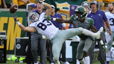 <p>               Kansas State Dalton Schoen, left, reaches for an incomplete pass over Baylor Kalon Barnes, right, during the first half of an NCAA college football game, Saturday, Oct. 6, 2018, in Waco, Texas. (Rod Aydelotte/Waco Tribune-Herald via AP)             </p>