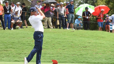 <p>               Gary Woodland of the United States follows his shot on the ninth hole during third round of the CIMB Classic golf tournament at Tournament Players Club (TPC) in Kuala Lumpur, Malaysia, Saturday, Oct. 13, 2018. (AP Photo/Yam G-Jun)             </p>