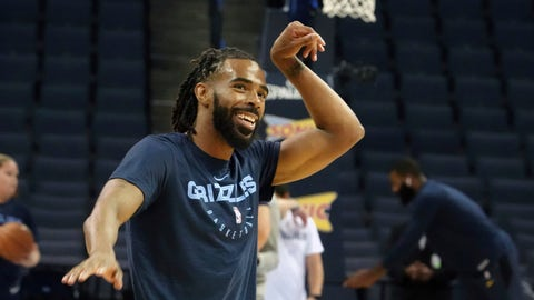 <p>               Memphis Grizzlies Mike Conley (11) warms up before the first half of a preseason NBA basketball game against the Indiana Pacers, Saturday, Oct. 6, 2018, in Memphis, Tenn. (AP Photo/Karen Pulfer Focht)             </p>
