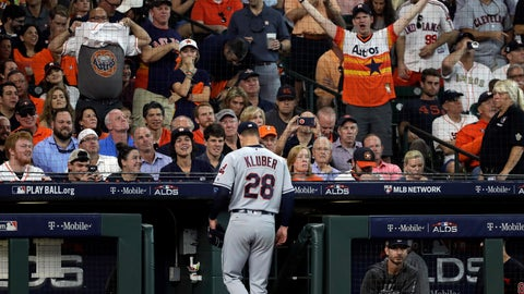 <p>               Cleveland Indians starting pitcher Corey Kluber (28) walks to the dugout after he was pulled from the game during the fifth inning in Game 1 of an American League Division Series baseball game against the Houston Astros, Friday, Oct. 5, 2018, in Houston. (AP Photo/David J. Phillip)             </p>