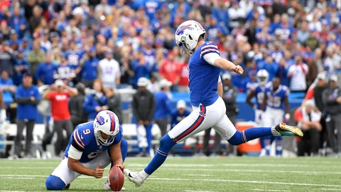 <p>               Buffalo Bills kicker Stephen Hauschka, right, with Corey Bojorquez holding, kicks a field goal against the Tennessee Titans during the second half of an NFL football game, Sunday, Oct. 7, 2018, in Orchard Park, N.Y. The Bills won 13-12. (AP Photo/Adrian Kraus)             </p>