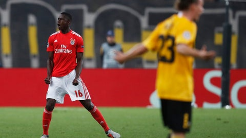<p>               Benfica's Alfa Semedo, left, celebrates after scoring his side's third goal during a Group E Champions League soccer match between AEK Athens and Benfica at the Olympic Stadium in Athens, Tuesday, Oct. 2, 2018. (AP Photo/Thanassis Stavrakis)             </p>
