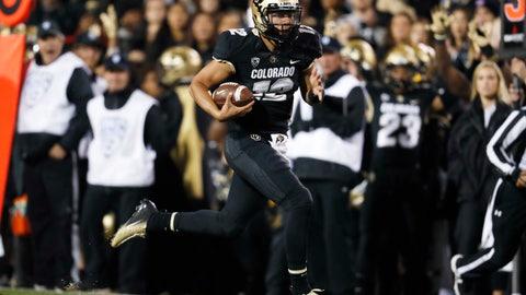 <p>               Colorado quarterback Steven Montez runs for a touchdown against UCLA during the second half of an NCAA college football game Friday, Sept. 28, 2018, in Boulder, Colo. Colorado won 38-16. (AP Photo/David Zalubowski)             </p>