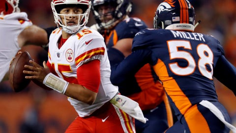 <p>               FILE - in this Oct. 1, 2018, file photo, Kansas City Chiefs quarterback Patrick Mahomes (15) scrambles as Denver Broncos linebacker Von Miller (58) pursues during the first half of an NFL football game in Denver. The Chiefs face the Jacksonville Jaguars, who have the league's best defense, this week, (AP Photo/David Zalubowski, File)             </p>
