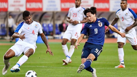 <p>               Japan's Takumi Minamino, front right, scores a goal during the first half of their Kirin Challenge Cup soccer match against Panama in Niigata, Niigata prefecture, north of Tokyo Friday, Oct. 12, 2018. (Yu Nakajima/Kyodo News via AP)             </p>