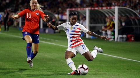 <p>               FILE - In this Aug. 31, 2018, file photo, United States' Crystal Dunn, right, prepares to strike the ball during the second half of an international friendly soccer match in Carson, Calif. Dunn is pragmatic about her shifting roles: Whatever helps get the U.S. women's national team to next year's World Cup in France is fine with her. Dunn plays midfielder for the North Carolina Courage, which just won the National Women's Soccer League championship after a record breaking season. On Thursday, she moves to defense when national team opens the CONCACAF World Cup qualifying tournament with a match against Mexico in Cary, N.C. (AP Photo/Marcio Jose Sanchez, File)             </p>