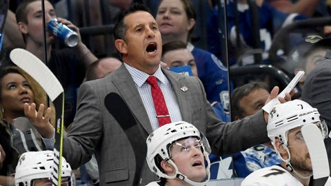 <p>               Florida Panthers coach Bob Boughner yells from the bench during the third period of an NHL hockey game against the Tampa Bay Lightning Saturday, Oct. 6, 2018, in Tampa, Fla. (AP Photo/Jason Behnken)             </p>