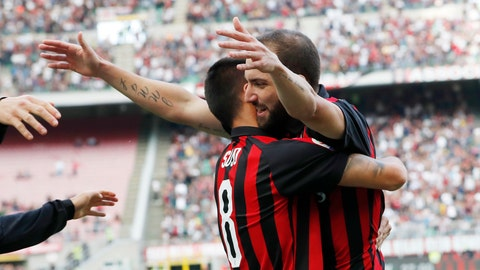 <p>               AC Milan's Gonzalo Higuain, right, celebrates with his teammate Suso after scoring his side's opening goal during the Serie A soccer match between AC Milan and Chievo Verona at the San Siro Stadium, in Milan, Italy, Sunday, Oct. 7, 2018. (AP Photo/Antonio Calanni)             </p>