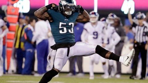 <p>               Philadelphia Eagles' Nigel Bradham (53) celebrates after sacking New York Giants quarterback Eli Manning during the second half of an NFL football game Thursday, Oct. 11, 2018, in East Rutherford, N.J. The Eagles won 34-13. (AP Photo/Julio Cortez)             </p>
