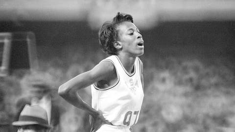 <p>               FILE - In this Oct. 19, 1968, file photo, United States' Madeline Manning catches her breath after winning the women's 800-meter run in record time of 2:00.9, at the Olympics in Mexico City. Fifty years ago, Madeline Manning Mims became the first black woman to win the Olympic 800 meters. Her story got overshadowed at the 1968 Mexico City Games by Tommie Smith and John Carlos, who raised black-gloved fists on the medal stand during the national anthem to protest America's social injustices. (AP Photo/File)             </p>