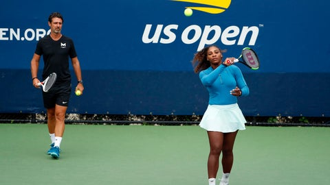 """<p>               FILE - In this Aug. 31, 2018, file photo, Serena Williams walks on a practice court with her coach, Patrick Mouratoglou, during the third round of the U.S. Open tennis tournament,  in New York. Serena Williams' coach says in-match coaching should be allowed in tennis to help the sport's popularity. Mouratoglou, who admitted he used banned hand signals to try to help Williams during her loss in the U.S. Open final, wrote Thursday, Oct. 18, 2018, in a posting on Twitter that legalizing coaching and making it part of the spectacle would let """"viewers enjoy it as a show.""""(AP Photo/Adam Hunger, File)             </p>"""