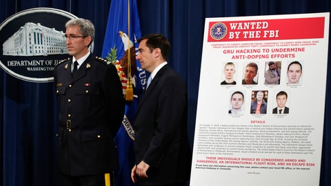 <p>               Mark Flynn, Director General for the Royal Canadian Mounted Police, left, and Assistant Attorney General for National Security John Demers, attend a news conference, Thursday, Oct. 4, 2018, at the Justice Department in Washington. (AP Photo/Jacquelyn Martin)             </p>