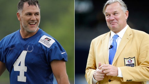 <p>               FILE - At left, in a June 12, 2018, file photo, Indianapolis Colts' Adam Vinatieri (4) smiles at the NFL football team's training camp, in Indianapolis. At right, in a Dec. 17, 2017, file photo, former New Orleans Saints kicker and Hall of Fame enshrinee Morten Andersen walks on the field before an NFL football game in New Orleans. Vinatieri needs 10 points Sunday against Buffalo to surpass the Great Dane _ even it seems virtually undiscernible by Vinatieri's demeanor. (AP Photo/File)             </p>