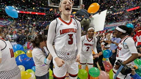 <p>               FILE - In this March 4, 2018, file photo, Louisville's Sam Fuehring (3) celebrates with teammates after an NCAA college basketball game against Notre Dame in the championship of the women's Atlantic Coast Conference tournament, in Greensboro, N.C. Both Notre Dame and Louisville enter the season as defending women's basketball champions. (AP Photo/Chuck Burton, File)             </p>