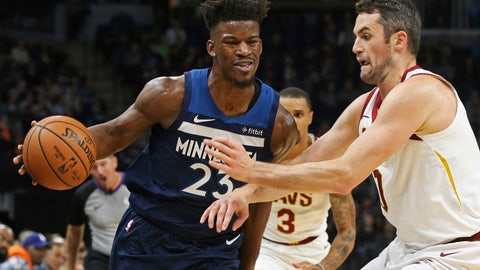 <p>               Minnesota Timberwolves' Jimmy Butler, left, drives around Cleveland Cavaliers' Kevin Love in the first half of an NBA basketball game Friday, Oct. 19, 2018, in Minneapolis. (AP Photo/Jim Mone)             </p>