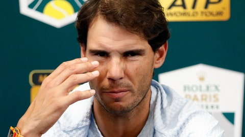 <p>               Rafael Nadal of Spain talks to media as he announces his withdraw from the Paris Masters tennis tournament at the Bercy Arena in Paris, France, Wednesday, Oct. 31, 2018. (AP Photo/Christophe Ena)             </p>