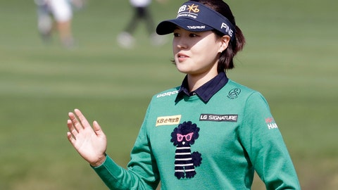 <p>               In Gee Chun of South Korea reacts on the 9th hole during the final round of the LPGA KEB Hana Bank Championship at Sky72 Golf Club in Incheon, South Korea, Sunday, Oct. 14, 2018. (AP Photo/Lee Jin-man)             </p>