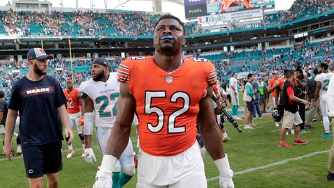 <p>               In this Oct. 14, 2018 photo Chicago Bears outside linebacker Khalil Mack (52) walks off the field at the end of an NFL football game against the Miami Dolphins in Miami Gardens, Fla. No matter how dominant Mack is, New England Patriots coach Bill Belichick wanted to make one thing clear on Wednesday, Oct. 17, 2018. He's no L.T. Belichick says he won't put Mack or anyone else in Hall of Famer Lawrence Taylor's class. The Patriots visit the Bears this week and that means Belichick will get an up-close look at one of the game's top outside linebackers, assuming Mack is ready to play after injuring his ankle last week. (AP Photo/Lynne Sladky)             </p>