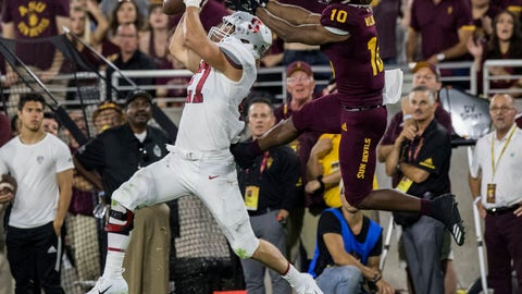<p>               Stanford's Sean Barton intercepts a pass intended for Arizona State's Kyle Williams during the first half of an NCAA college football game Thursday, Oct. 18, 2018, in Tempe, Ariz. (AP Photo/Darryl Webb)             </p>