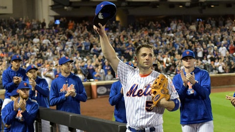 <p>               New York Mets third baseman David Wright (5) acknowledges the fans as he leaves the field after coming out of a baseball game during the fifth inning against the Miami Marlins, Saturday, Sept. 29, 2018, in New York. (AP Photo/Bill Kostroun)             </p>