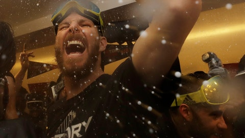 <p>               The Boston Red Sox Chris Sale celebrates in the clubhouse after Game 5 of baseball's World Series against the Los Angeles Dodgers on Sunday, Oct. 28, 2018, in Los Angeles. The Red Sox won 5-1 to win the series 4 games to 1. (AP Photo/Elise Amendola)             </p>