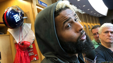 <p>               New York Giants' Odell Beckham Jr. speaks to reporters in East Rutherford, N.J., Thursday, Oct. 4, 2018. Four games into the season and Beckham has not caught a touchdown pass. The Giants play the Carolina Panthers in Charlotte, N.C., on Sunday. (AP Photo/Tom Canavan)             </p>
