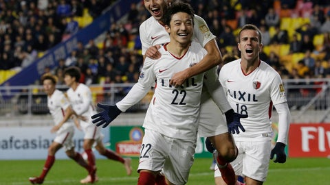 <p>               Japanese Kashima Antlers' Daigo Nishi celebrates with his teammate Yuma Suzuki after scoring a goal against South Korean Suwon Samsung Bluewings during the second-leg semifinal of the Asian Champions League at Suwon World Cup Stadium in Suwon, South Korea, Wednesday, Oct. 24, 2018. (AP Photo/Ahn Young-joon)             </p>