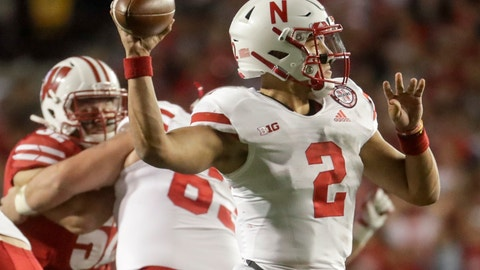 <p>               Nebraska's Adrian Martinez throws during the second half of an NCAA college football game against Wisconsin Saturday, Oct. 6, 2018, in Madison, Wis. (AP Photo/Morry Gash)             </p>
