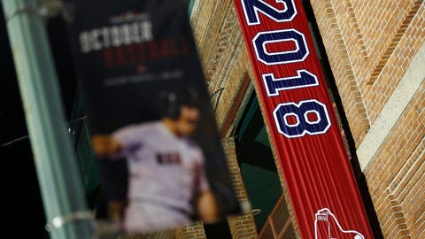 <p>               The 2018 World Series baseball championship banner hangs outside Fenway Park in Boston, Monday, Oct. 29, 2018. The Boston Red Sox won the series against the Los Angeles Dodgers on Sunday in Los Angeles. (AP Photo/Michael Dwyer)             </p>