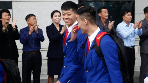 <p>               The Chinese sports delegation arrives at the airport Monday, Oct. 8, 2018, in Pyongyang, North Korea. (AP Photo/Jon Chol Jin)             </p>