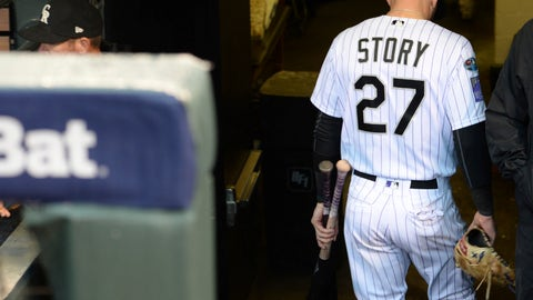 <p>               Colorado Rockies shortstop Trevor Story heads down the stairs to the clubhouse after Game 3 of a baseball National League Division Series against the Milwaukee Brewers Sunday, Oct. 7, 2018, in Denver. The Brewers won 6-0 to sweep the series in three games and move on to the National League Championship Series. (AP Photo/Joe Mahoney)             </p>