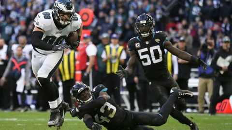 <p>               Philadelphia Eagles tight end Dallas Goedert (88) heads to score a touchdown during the first half of an NFL football game against Jacksonville Jaguars at Wembley stadium in London, Sunday, Oct. 28, 2018. (AP Photo/Tim Ireland)             </p>