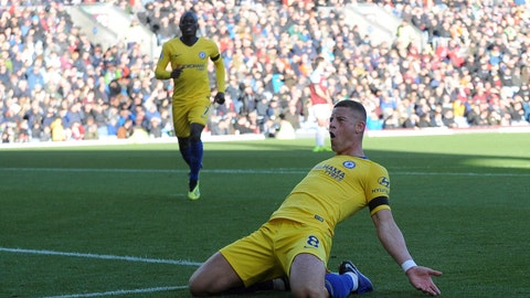 <p>               Chelsea's Ross Barkley celebrates after scoring his side 2nd goal of the game during the English Premier League soccer match between Burnley and Chelsea at Turf Moor stadium in Burnley, England, Sunday, Oct. 28, 2018. (AP Photo/Rui Vieira)             </p>