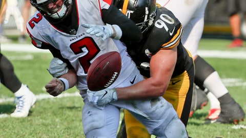 <p>               FILE - In this Oct. 7, 2018, file photo, Pittsburgh Steelers linebacker T.J. Watt (90) sacks Atlanta Falcons quarterback Matt Ryan (2) and forces a fumble that was later recovered for a touchdown in the fourth quarter of an NFL football game, in Pittsburgh. The Falcons, who play against the Tampa Bay Buccaneers on Sunday, are off to their worst start since 2013. (AP Photo/Gene J. Puskar, FIle)             </p>