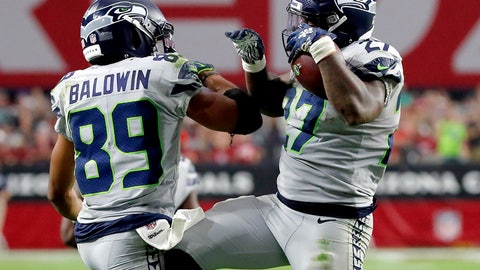 <p>               Seattle Seahawks running back Mike Davis (27) celebrates his touchdown with wide receiver Doug Baldwin (89) during the second half of an NFL football game against the Arizona Cardinals, Sunday, Sept. 30, 2018, in Glendale, Ariz. (AP Photo/Rick Scuteri)             </p>