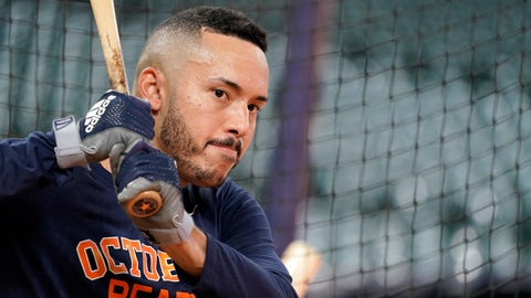 <p>               Houston Astros' Carlos Correa waits to bat during a baseball workout Thursday, Oct. 4, 2018, in Houston. The Astros play the Cleveland Indians in Game 1 of the American League Division Series Friday. (AP Photo/David J. Phillip)             </p>