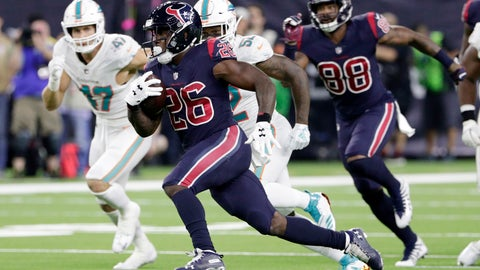 <p>               Houston Texans running back Lamar Miller (26) breaks for a long run against the Miami Dolphins during the second half of an NFL football game, Thursday, Oct. 25, 2018, in Houston. (AP Photo/Michael Wyke)             </p>
