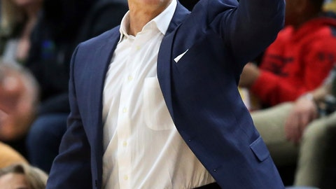 <p>               Oklahoma City Thunder coach Billy Donovan gestures during the second half of the team's NBA preseason basketball game against the Minnesota Timberwolves on Friday, Oct. 5, 2018, in Minneapolis. The Thunder won 113-101. (AP Photo/Jim Mone)             </p>
