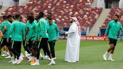 <p>               FILE - In this June 13, 2018 file photo, Saudi Arabia's sports minister Turki Alsheikh talks to the national soccer team players at the 2018 soccer World Cup at Luzhniki stadium in Moscow, Russia. Egypt's close relations with Saudi Arabia are being tested by a soccer spat sparked by an uproar over meddling by Alsheikh. The minister's attempts over the last year to exert control of Egypt's biggest team enraged fans, officials and one of the country's greatest players. The acrimonious fallout led to the confidant of Saudi Arabia's powerful crown prince buying a rival club in a bid to challenge Al-Ahly's supremacy. (AP Photo/Antonio Calanni, File)             </p>