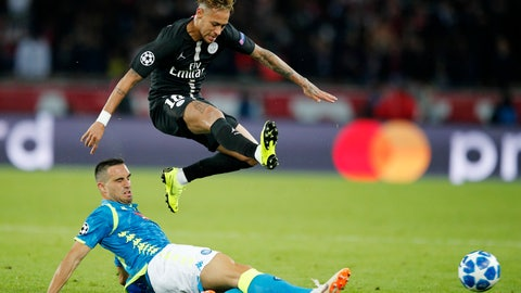 <p>               PSG's Neymar, top, is tackled by Napoli's Nikola Maksimovic during the Champions League, group C, soccer match between Paris Saint Germain and Napoli at the Parc des Princes stadium in Paris, Wednesday, Oct. 24, 2018. (AP Photo/Francois Mori)             </p>