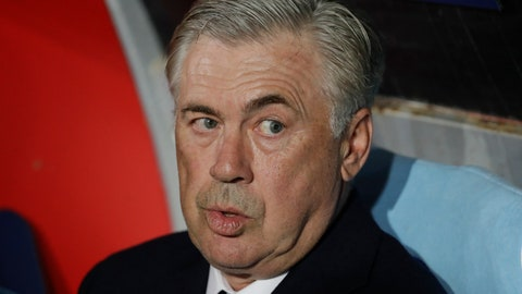 <p>               Napoli coach Carlo Ancelotti sits on the bench prior to the Champions League, group C soccer match between Napoli and Liverpool, at the San Paolo Stadium in Naples, Italy, Wednesday, Oct. 3, 2018. (AP Photo/Andrew Medichini)             </p>