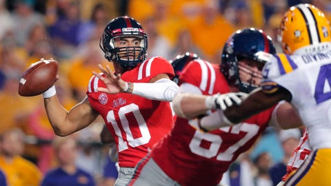 <p>               Mississippi quarterback Jordan Ta'amu (10) looks for a receiver during the first half of the team's NCAA college football game against LSU in Baton Rouge, La., Saturday, Sept. 29, 2018. LSU won 45-16. (AP Photo/Gerald Herbert)             </p>