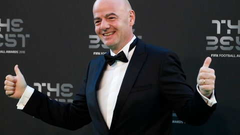 <p>               FILE - In this file photo dated Monday, Sept. 24, 2018, FIFA President Gianni Infantino arrives for the ceremony of the Best FIFA Football Awards at the Royal Festival Hall in London. Infantino hoped to secure an agreement on Friday Oct. 26, 2018, from his council on the concept of revamping the Club World Cup and establishing a worldwide Nations League.(AP Photo/Frank Augstein, FILE)             </p>