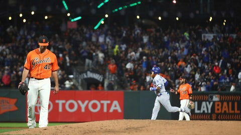 <p>               San Francisco Giants' Madison Bumgarner, left, waits for Los Angeles Dodgers' Justin Turner, right, to run the bases after hitting a two-run home run during the fifth inning of a baseball game Friday, Sept. 28, 2018, in San Francisco. (AP Photo/Ben Margot)             </p>