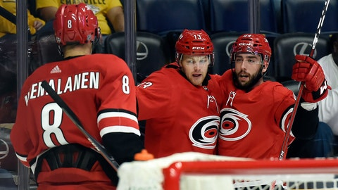 <p>               Carolina Hurricanes left wing Warren Foegele (13) celebrates with center Clark Bishop (64) and right wing Saku Maenalanen (8), of Finland, after Foegele scored a goal against the Nashville Predators during the first period of an NHL preseason hockey game Tuesday, Sept. 25, 2018, in Nashville, Tenn. (AP Photo/Mark Zaleski)             </p>