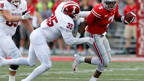 <p>               Ohio State quarterback Dwayne Haskins, right, scrambles away from Indiana defensive lineman Nile Sykes during the second half of an NCAA college football game Saturday, Oct. 6, 2018, in Columbus, Ohio. (AP Photo/Jay LaPrete)             </p>