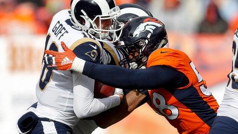<p>               Denver Broncos linebacker Von Miller (58) sacks Los Angeles Rams quarterback Jared Goff (16) during the first half of an NFL football game, Sunday, Oct. 14, 2018, in Denver. (AP Photo/David Zalubowski)             </p>