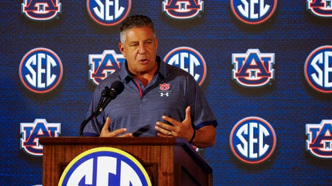 <p>               Auburn coach Bruce Pearl speaks during the Southeastern Conference men's NCAA college basketball media day, Wednesday, Oct. 17, 2018, in Birmingham, Ala. (AP Photo/Butch Dill)             </p>